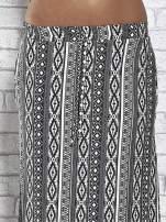 Szara spódnica maxi w azteckie wzory