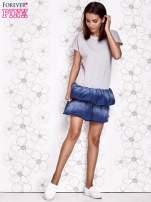 Szara sukienka dresowa z jeansowym dołem                                  zdj.                                  2
