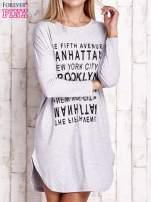 Szara sukienka z napisem NEW YORK CITY