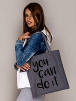 Szara torba materiałowa YOU CAN DO IT                                  zdj.                                  2