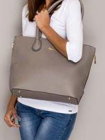 Szara torba shopper bag ze złotymi suwakami                                  zdj.                                  1
