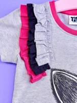Szara tunika dla dziewczynki z nadrukiem FURBY                                  zdj.                                  3