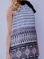 Szara wzorzysta sukienka wiązana na szyi na wstążkę                                  zdj.                                  5