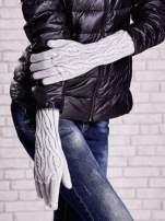 Szare rękawiczki o warkoczowym splocie z błyszczącą nicią                                                                          zdj.                                                                         3