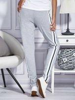 Szare spodnie dresowe z kolorowymi lampasami                                  zdj.                                  2