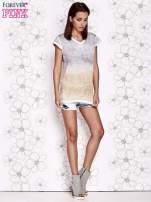 Szaro-beżowy t-shirt z efektem ombre                                  zdj.                                  4