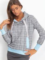 Szaro-niebieska lekka bluza w kratkę z kapturem i troczkami                                  zdj.                                  1