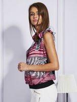 Szaro-różowa bluzka mgiełka z wiązaniem                                  zdj.                                  5