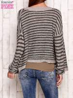 Szaro-zielony otwarty sweter w paski