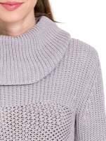 Szary ciepły sweter z golfowym kołnierzem                                                                          zdj.                                                                         5