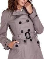 Szary klasyczny płaszcz typu trencz                                  zdj.                                  5