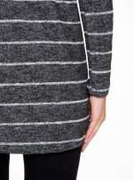 Szary melanżowy sweter z pasiastym tyłem i rękawami                                                                          zdj.                                                                         10
