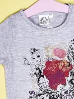 Szary t-shirt dla dziewczynki z nadrukiem EVER AFTER HIGH                                  zdj.                                  3