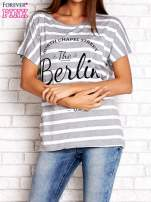 Szary t-shirt w białe paski z napisem NORTH CHAPEL STREET                                  zdj.                                  1