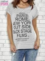 Szary t-shirt w paski z nadrukiem PARIS, ROME, NEW YORK                                  zdj.                                  1