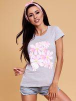 Szary t-shirt z kolorowym kwiatowym nadrukiem                                  zdj.                                  1
