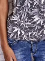 Szary t-shirt z motywem liści ganja weed                                  zdj.                                  6