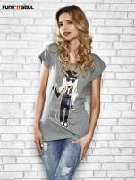 Szary t-shirt z nadrukiem Lady Gaga Funk n Soul                                  zdj.                                  1