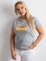 Szary t-shirt z nadrukiem PLUS SIZE                                  zdj.                                  1