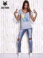 Szary t-shirt z nadrukiem ZOO YORK                                  zdj.                                  2