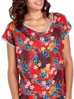 Szary t-shirt z nadrukiem kwiatowym                                  zdj.                                  5
