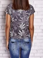 Szary t-shirt z nadrukiem liści weed ganja                                  zdj.                                  2