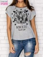 Szary t-shirt z nadrukiem tygrysa i zipem z tyłu                                  zdj.                                  1