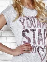 Szary t-shirt z napisem YOU ARE STAR IN MY HEART z dżetami                                  zdj.                                  5