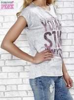 Szary t-shirt z napisem YOU ARE STAR IN MY HEART z dżetami                                  zdj.                                  3