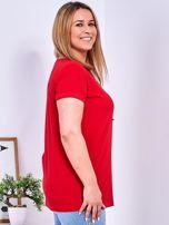 T-shirt czerwony z gwiazdą z perełek PLUS SIZE                                  zdj.                                  3