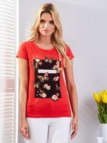 T-shirt czerwony z motylami                                  zdj.                                  1