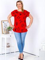 T-shirt czerwony z nadrukiem PLUS SIZE                                  zdj.                                  4