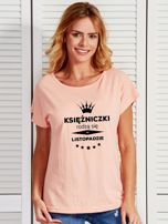 T-shirt damski KSIĘŻNICZKI RODZĄ SIĘ W LISTOPADZIE łososiowy                                  zdj.                                  1