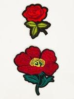 T-shirt damski brzoskwiniowy z naszywkami FLOWERS                                  zdj.                                  2