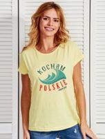 T-shirt damski patriotyczny KOCHAM POLSKIE MORZE żółty                                  zdj.                                  1