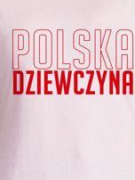 T-shirt damski patriotyczny POLSKA DZIEWCZYNA jasnoróżowy                                  zdj.                                  2