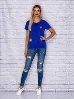 T-shirt damski z wiązaniem i naszywkami ciemnoniebieski                                  zdj.                                  4