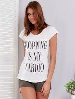 T-shirt ecru SHOPPING IS MY CARDIO                                  zdj.                                  1