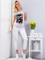 T-shirt jasnoszary z motylami                                  zdj.                                  4