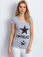 T-shirt szary z naszywką gwiazd                                  zdj.                                  1