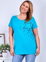 T-shirt turkusowy z gwiazdą z perełek PLUS SIZE                                  zdj.                                  1
