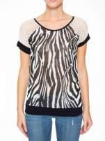 T-shirt z nadrukiem zebry i ażurowymi rękawami                                                                          zdj.                                                                         6