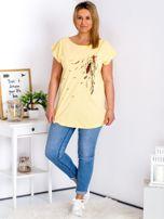 T-shirt żółty z nadrukiem boho PLUS SIZE                                  zdj.                                  4