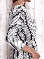 TOM TAILOR Biała graficzna sukienka z wiązaniem