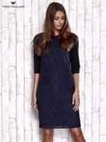 TOM TAILOR Granatowa sukienka z koronkową wstawką                                  zdj.                                  5