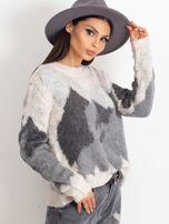 TOM TAILOR Szary wełniany sweter z abstrakcyjnym deseniem                                                                          zdj.                                                                         3