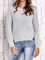 TOM TAILOR Szary sweter z rozcięciami                                  zdj.                                  1