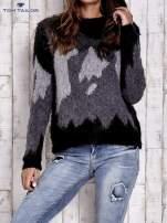 TOM TAILOR Szary wełniany sweter z abstrakcyjnym deseniem                                  zdj.                                  2