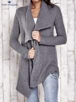 TOM TAILOR Szary wełniany sweter z kaskadowym kołnierzem
