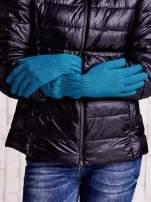 Ecru długie rękawiczki z przeszywanym ściągaczem                                                                          zdj.                                                                         2